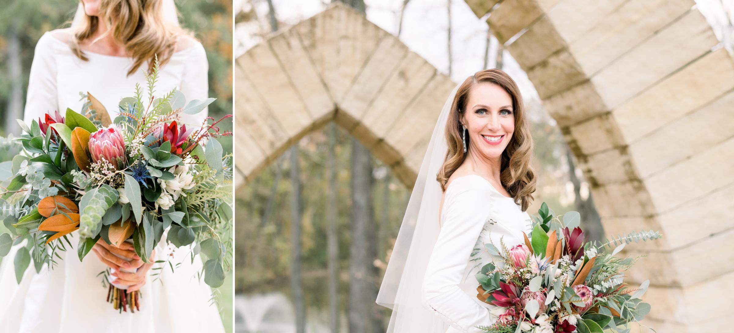 Bride in custom wedding dress by L'ezu Bridal Atelier of Beverly Hills
