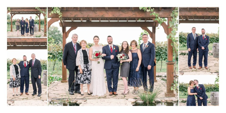 The couple and their families after their outdoor summer wedding at Tycoga Winery in Dewitt, Iowa