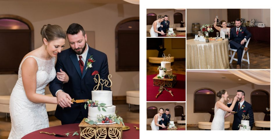 The bride and groom cutting their cake and enjoying the speeches from their family and friends during their reception at Tycoga Winery
