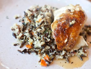 Lemon butter chicken and wild rice prepared by students at the Farmer's Table Cooking School in Livingston.