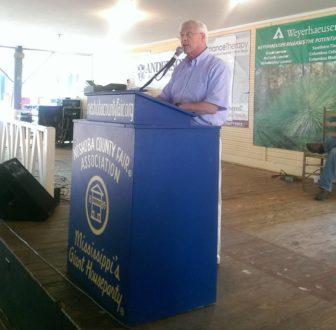 Sen. Roger Wicker speaks at the Neshoba County Fair on Thursday.