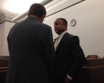 Hinds County District Attorney Robert Shuler, right, and his attorney, Jim Waide of Tupelo, appeared in a private hearing before Circuit Judge LaRita Cooper-Stokes on Wednesday.
