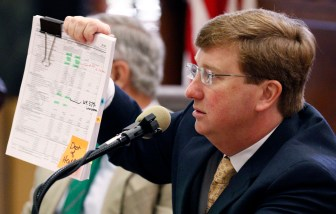 Lt. Gov. Tate Reeves holds a copy of the state Department of Health's submitted budget request for 2018, as he questions state health officer Dr. Mary Currier Tuesday at the Capitol in Jackson.