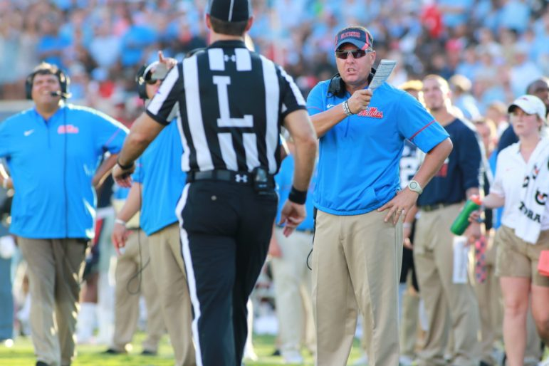 Hugh Freeze asks for an explanation after one of the many replay reviews.