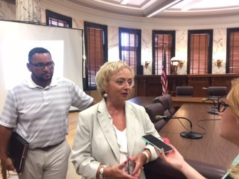 State Superintendent of Education Carey Wright speaks to reporters on Thursday after the department's budget hearing at the state Capitol.