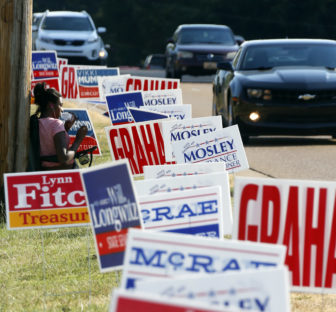 Campaign signs along Old Canton Road in Jackson during the August 2015 primary elections.