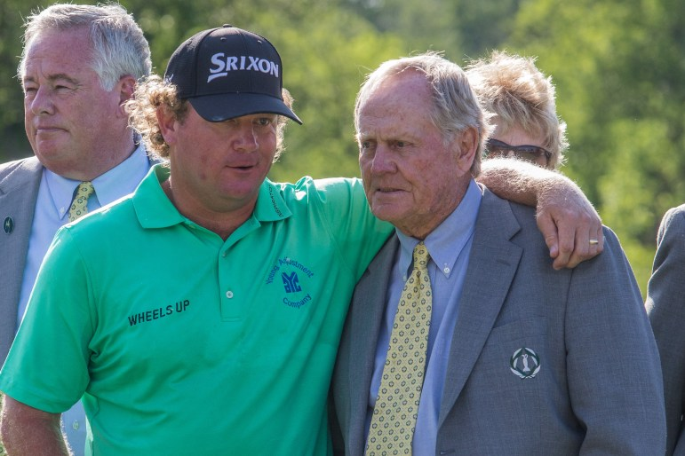 William McGirt puts his arm around Jack Nicklaus after winning The Memorial Tournament at Muirfield at Dublin, Ohio, last June.