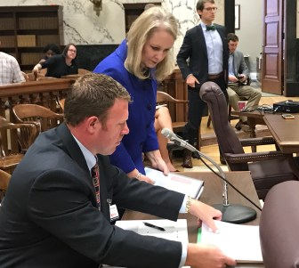 Kelly Breland, director of administration at the Department of Mental Health, and Diana Mikula, executive director of the Department of Mental Health, just before the hearing on agency travel budgets on Tuesday.