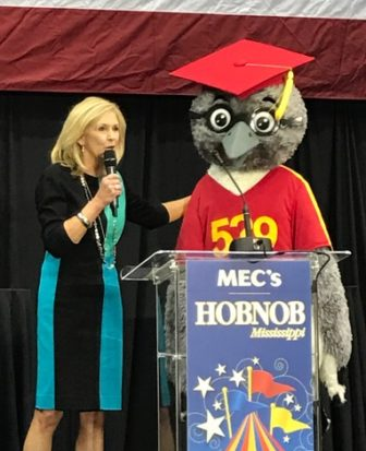 State Treasurer Lynn Fitch is joined by Echo the Mockingbird at 2016 Hobnob.