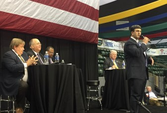 State Republican Party Chairman Joe Nosef speaks on the Red and Blue Panel, part of the Mississippi Economic Council's annual Hobnob.