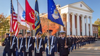 Members of UM Army ROTC Program marched past the Lyceum during the Pass in Review ceremony Thursday.