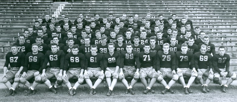 The 1946 Michigan State Spartans football team, including No. 58 Horace Smith, third row from the top.