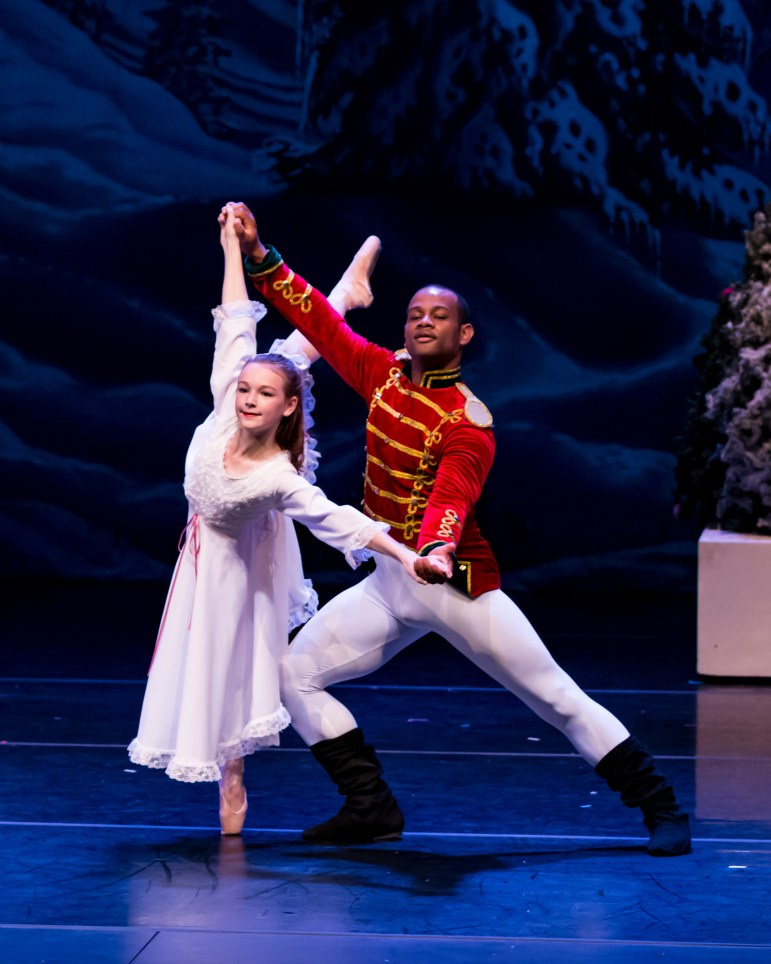 "Dexter Bishop and Laura Hart dance in a previous production of Mississippi Metropolitan Ballet's ""The Nutcracker."""