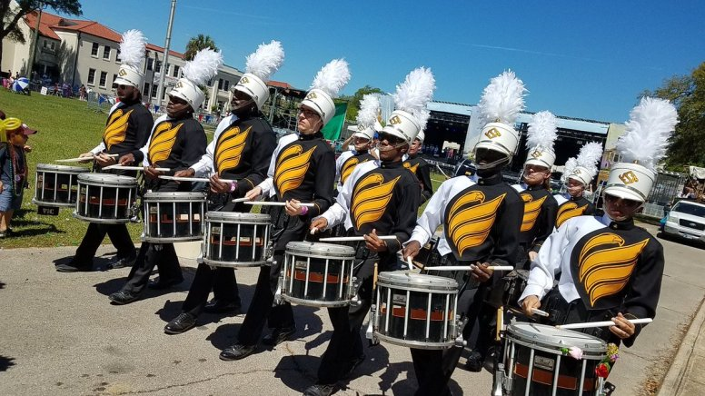 The drumline of the University of Southern Mississippi Marching Band.