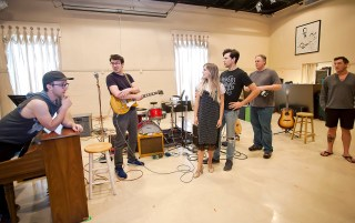 "Actors, from left, Ian Fairlee, Austin Hohnke, Bailey McCall Thomas, Austin Thomas, Joseph Frost and Austin Wayne Price rehearse for ""Million Dollar Quartet"" at New Stage Theatre."