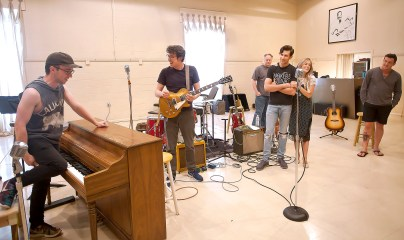 "Actors, from left, Ian Fairlee, Austin Hohnke, Joseph Frost (background), Austin Thomas, Bailey McCall Thomas and Austin Wayne Price rehearse for ""Million Dollar Quartet"" at New Stage Theatre."