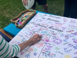A large birthday card for Mississippi was signed at the picnic. It is being sent to Gov. Phil Bryant.