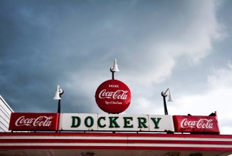 A storm approaches the Dockery Service Station.