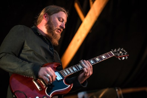 Derek Trucks performs on stage at the former cotton storage shed at Dockery Farms.