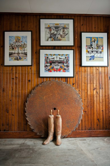 Art and old equipment decorates much of the inside of the service station at Dockery Farms.