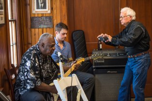 """Bluesman Terry """"Big T"""" Williams performs in the service station at Dockery Farms"""