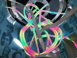 """The """"This Little Light of Mine"""" fabric sculpture in the Mississippi Civil Rights Museum was a riot of color as the team tested the lights. The effect will be gentler in the sculpture's ambient mode when the museum opens."""