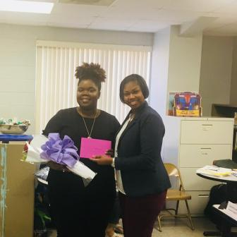 Mildrica Cannon and Friars Point Elementary principal Latasha Turner