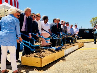City and state officials break ground on the Mississippi Aquarium site in Gulfport.