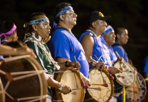 Drummers play during the World Series of Stickball at the Choctaw Indian Fair in Choctaw Wednesday, July 11, 2018.