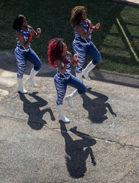 Jackson State dancers walk into Mississippi Veterans Memorial Stadium before JSU's homecoming game against Mississippi Valley State University Saturday, October 13, 2018.