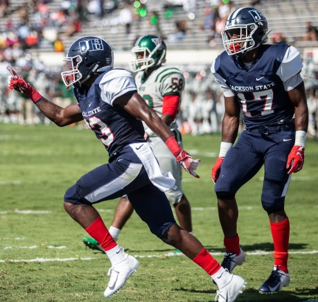 Jackson State players celebrate a touchdown during their homecoming game against Mississippi Valley State University Saturday, October 13, 2018.