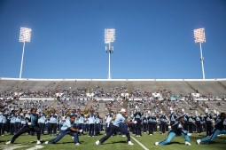 Sonic Boom alumni perform at halftime during JSU's homecoming game against Mississippi Valley State University Saturday, October 13, 2018.