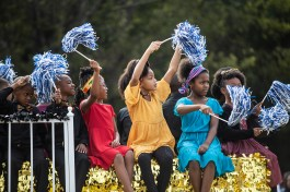 Members of New Hope Christian School participate in Jackson State's homecoming parade near JSU's campus Saturday, October 13, 2018.