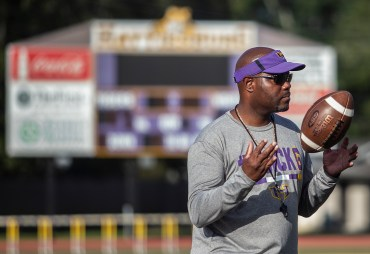 Hattiesburg High football coach Tony Vance watches his players during practice Wednesday, October 11, 2018.