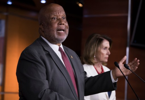 Rep. Bennie Thompson, D-Miss., joins House Minority Leader Nancy Pelosi, D-Calif., right, at the Capitol in Washington, Thursday, June 29, 2017. When the new Congress convenes in Jan. 2019, Thompson will take the helm of the House Homeland Security Committee. Pelosi is expected to again become House speaker.