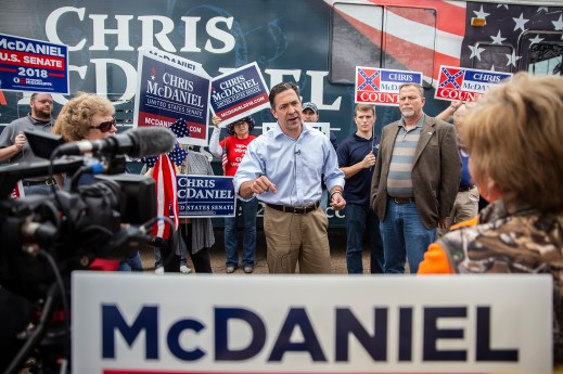 Chris McDaniel speaks to his supporters during a campaign stop on Lakeland Drive in Flowood Monday, November 5, 2018.