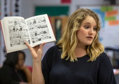 "Kaitlyn Barton holds a discussion with her high school English class about the graphic novel ""Maus"" at Clarksdale High School Wednesday, October 31, 2018."