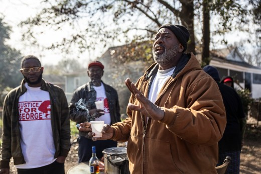 """James """"The Painter"""" Taylor talks about the death of George Robinson after a protest on Jones Avenue in Jackson Monday, January 21, 2019."""