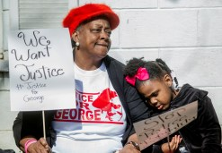 Carolyn Washington and her 5-year-old great-niece, Jaycee Washington, after the protest on Jones Avenue in Jackson Monday, January 21, 2019.