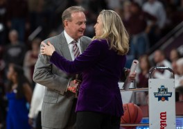 Mississippi State Head Coach Vic Schaefer, left, greets Clemson Head Coach Amanda Butler before their NCAA tournament game at Humphrey Coliseum in Starkville, Miss., Sunday, March 24, 2019.
