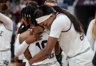 Mississippi State players celebrate their win against Clemson during their NCAA tournament game at Humphrey Coliseum in Starkville, Miss., Sunday, March 24, 2019.