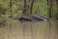A residence is nearly completely submerged in flood water in north Issaquena County, Miss., Friday, April 5, 2019.