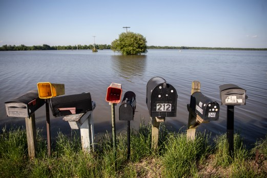 Mailboxes stand in front of flooded farmland in Eagle Lake, Monday, May 13, 2019.