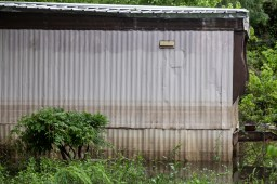 A water mark is seen on a mobile home as a result of the flooding in Tchula, Miss.
