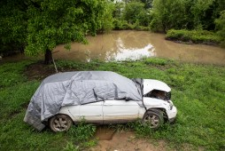 Jennie Jefferson's car, which was damaged by the flooding, is photographed in Tchula, Miss., Thursday, May 9, 2019.