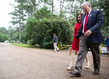 GOP gubernatorial candidate Bill Waller Jr. and his wife Charlotte Waller leave Spann Elementary after voting in the GOP runoff elections.