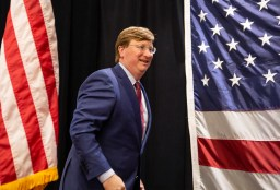 Lt. Gov. Tate Reeves prepares to speak to his supporters during his election watch party after winning the GOP nomination for governor Tuesday, August 27, 2019.