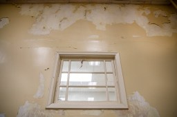 Peeling paint and a celling with mold in a multi-purpose room at Leland Elementary.