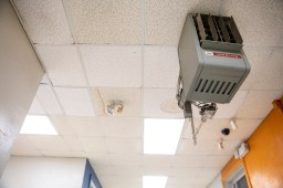 A broken cooling unit in the hallway of Leland Elementary.