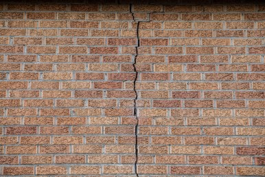 A large crack in the side Goodman-Pickens Elementary School nearly stretches from the roof to the school's foundation.